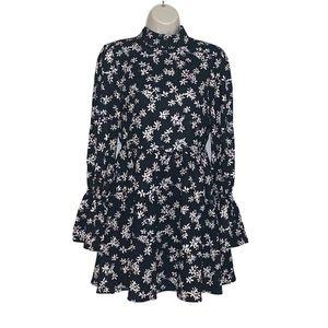 Lucca Women's Sz S Black Floral Dress Cutout Back